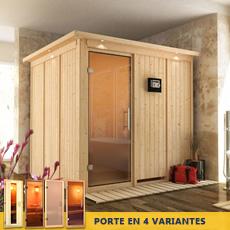 Sauna en bois lambris Anastasie - 68 mm avec porte en verre graphite et cadre led