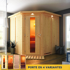 Sauna en bois lambris Ginette - 68 mm avec porte en verre graphite et cadre led