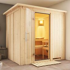 Sauna en bois lambris Doris 68 mm avec porte en verre graphite et cadre led