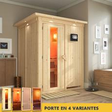Sauna en bois lambris Renée - 68 mm avec porte en verre graphite et cadre led