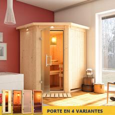 Sauna en bois lambris Odette- 68 mm avec porte en verre graphite et cadre led