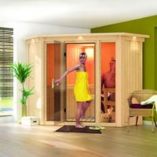 Sauna en bois lambris Rose 1 - 68 mm avec porte en verre graphite et cadre led